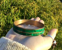 Load image into Gallery viewer, Vintage Malachite Bangle Bracelet ~ Hand Made In Africa ~ Beautiful Polished Stone  ~ Stunning ~ Gorgeous Green Mineral Crystal Jewelry