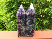 "Load image into Gallery viewer, Amethyst Crystal Twin Flame Double Large 9 lb. 14 oz. Generator ~ 10"" Tall ~ Swirling Purple & White Colors Stunning Display ~ Fast Shipping"