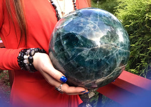 "Fluorite Large 34 Lb. Crystal Ball ~ 8"" Wide ~ Rare Blue & Green Colors ~ Massive Polished Rainbow Sphere ~ Meditation ~ Beautiful Display"