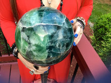 "Load image into Gallery viewer, Fluorite Large 34 Lb. Crystal Ball ~ 8"" Wide ~ Rare Blue & Green Colors ~ Massive Polished Rainbow Sphere ~ Meditation ~ Beautiful Display"
