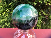 "Load image into Gallery viewer, Rainbow Fluorite Green / Blue Quartz Large 2 lb. 6 oz. Crystal Ball ~ 3 1/2"" Wide Sphere ~ Reiki, Altar Display ~ Fast & Free Shipping"