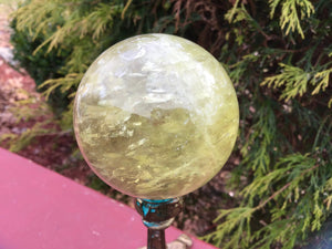 "Citrine Quartz Large 12 oz. Crystal Ball  ~ 2"" Wide ~ Sparkling Rainbow Inclusions ~ Altar, Meditation, Reiki ~ Fast & Free Shipping"