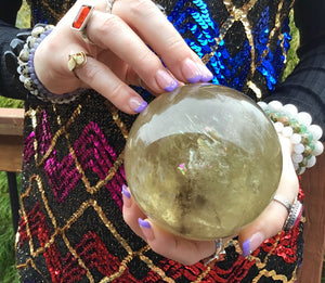 "2 lb. 9 oz. ~ Large  Smokey Citrine Crystal Ball ~ 3 1/2"" Wide ~ Golden Sunshine Yellow Big Polished Sphere ~ Rainbows Silver Flashes Galore"