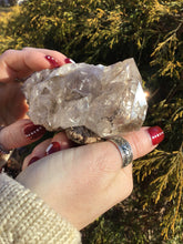 "Load image into Gallery viewer, Large 9 oz. ~ Herkimer Diamond Quartz Crystal Stunning ~3"" Long ~ Sparkling Rainbow Inclusions Black Phantoms ~ Natural Matrix ~ Palm Size"