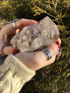 "Large 9 oz. ~ Herkimer Diamond Quartz Crystal Stunning ~3"" Long ~ Sparkling Rainbow Inclusions Black Phantoms ~ Natural Matrix ~ Palm Size"
