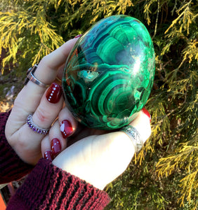 "Malachite 2 lb. Egg ~ 3 1/2"" Tall ~ Green Gemstone ~ Hand Carved From Africa ~ Swirling Bull's Eyes ~ Altar, Reiki ~ Fast & Free Shipping"