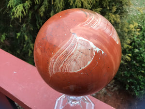 "Red Jasper Quartz Crystal Ball Large 3 lb. 15 oz. Sphere ~ 4"" Wide ~ Big Swirling Color Inclusions ~ Altar, Reiki Display ~ Fast Shipping"