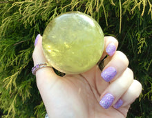 "Load image into Gallery viewer, Citrine Quartz Large 12 oz. Crystal Ball  ~ 2"" Wide ~ Sparkling Rainbow Inclusions ~ Altar, Meditation, Reiki ~ Fast & Free Shipping"