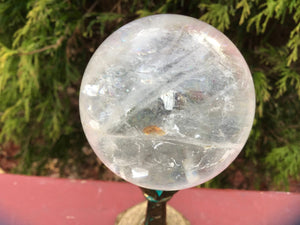 "Clear Quartz 11 oz. Crystal Ball ~ 2 1/2"" Wide Polished Sphere ~ Rainbow Inclusions ~ Reiki, Altar, Feng Shui Display ~ Free & Fast Shipping"