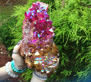 "Aura Quartz Crystal Large 9 Lb. Cluster ~ 9"" Long ~ Electric Orange, Pink & Red ~ Big Sparkling Points ~ Angel Rainbow Iridescent Colors"