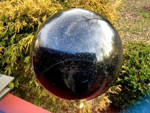 "Load image into Gallery viewer, Tourmaline Crystal Ball Large 31 Lb. Sphere ~ 8"" Wide ~ Rare Black & Green Colors ~ Golden Pyrite Inclusions ~ Reiki Display ~ Fast Shipping"