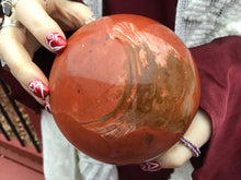 "Load image into Gallery viewer, Red Jasper Quartz Crystal Ball Large 3 lb. 15 oz. Sphere ~ 4"" Wide ~ Big Swirling Color Inclusions ~ Altar, Reiki Display ~ Fast Shipping"