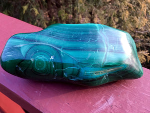 "Malachite, Chrysocolla, Malacolla Polished African Stone Large 1 Lb. Crystal - 5"" Long ~ Rare Beautiful Swirling Green, Blue & Black Colors"