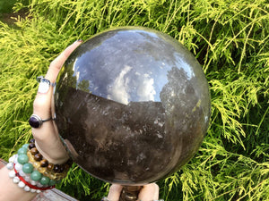 "Ultra Clear Smokey Quartz Large 16 Lb. 13 oz. ~ Crystal Ball ~ 6 1/2"" Wide ~ Transparent Sparkly Inclusions ~ Big Polished Sphere Stunning"