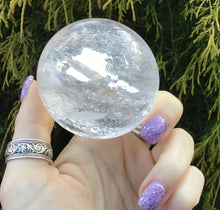 "Load image into Gallery viewer, Clear Quartz Big 10 oz. Crystal Ball ~ 2"" Wide Polished Sphere ~ Rainbow Inclusions ~ Reiki Altar Feng Shui Display ~ Free & Fast Shipping"