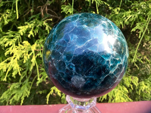 "Deep Blue Apatite Large 2 lb. 6 oz. Crystal Ball ~ 3"" Wide ~ Swirling Colors  Beautiful Display Reiki, Altar Sphere ~ Free & Fast Shipping"