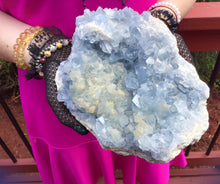 "Load image into Gallery viewer, Blue Celestite Crystal Quartz Large 8 lb. 6 oz. Cluster - 8"" Long ~ Big Sparkling Blue Clear Rainbow Inclusions ~ Fast & Free Shipping"