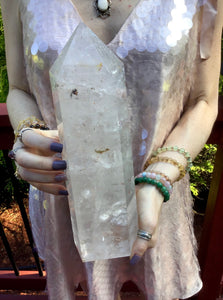 "Clear Quartz Crystal Large 5 lb. 13 oz. Generator ~ 11"" Tall ~ White Swirling Inclusions ~ Big Free Standing Pillar ~ Free & Fast Shipping"