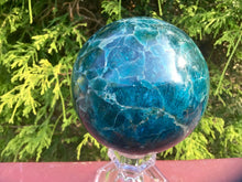 "Load image into Gallery viewer, Deep Blue Apatite Large 2 lb. 6 oz. Crystal Ball ~ 3"" Wide ~ Swirling Colors  Beautiful Display Reiki, Altar Sphere ~ Free & Fast Shipping"