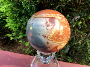 "Jasper Polychrome Ocean Crystal Ball Large 1 Lb. 4 oz. ~ Polished 3"" Sphere ~ Colorful Pastel Colorful Inclusions ~  Fast & Free Shipping"