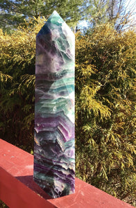 "Fluorite Quartz Crystal Large 7 lb. 9 oz. Generator ~ 12"" Tall ~ Rainbow Purple Colors ~ Beautifully Polished Quality Tower ~ Fast Shipping"