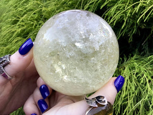 "Yellow Citrine Ultra Clear Quartz Large 1 lb. 11 oz. ~ Crystal Ball ~ 3"" Wide Sphere ~ Big Sparkling Rainbow Inclusions ~Altar Reiki Display"
