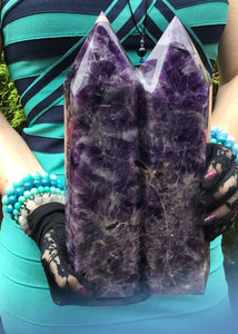 "Amethyst Crystal Twin Flame Double Large 9 lb. 14 oz. Generator ~ 10"" Tall ~ Swirling Purple & White Colors Stunning Display ~ Fast Shipping"