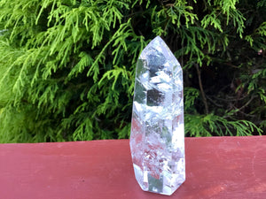 "Ultra Clear Quartz Crystal Big  3.9 oz Generator ~ 3"" Tall ~ Gem Cut Polished Point ~ Colorful Rainbow Colors ~ Fast and Free Shipping ~"