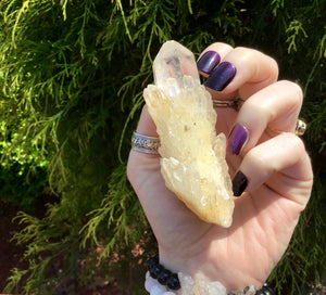 "Elestial Clear Quartz Big 3.8 oz. Crystal ~ 3"" Long ~ Golden Healer ~ Sparkling Inclusions ~ Meditation, Handheld ~ Free & Fast Shipping"