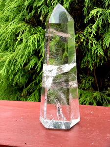 "Quartz Crystal Large 9.7 oz. Generator ~ 5 1/2"" Tall ~ Swirling Rainbow Ultra Clear Inclusions ~ Free Standing Tower ~ Free Fast Shipping"