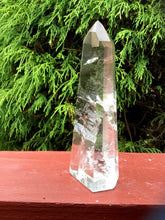 "Load image into Gallery viewer, Quartz Crystal Large 9.7 oz. Generator ~ 5 1/2"" Tall ~ Swirling Rainbow Ultra Clear Inclusions ~ Free Standing Tower ~ Free Fast Shipping"
