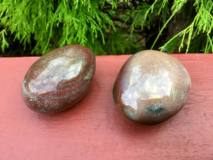 Bloodstone Duo of Polished Palm Stones ~ Beautiful Red, Green and White Colors ~ Perfect for Meditation, Sharing, Altar, Grids, Reiki, Gifts