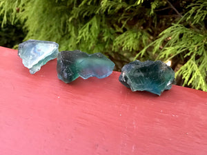 Fluorite Crystals Trio of Pocket or Altar Crystals ~ 3 Gorgeous, Glowing Blue and Green ~ Perfect for Meditation, Third Eye, Gifting, Décor