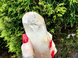 "Frosted Lemurian Crystal Quartz Point Large 8 oz. Wand ~ 5"" Long Ancient Striations ~ Self Healed Key Hole ~ Beautiful Reiki, Altar Display"
