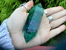 "Load image into Gallery viewer, Rainbow Fluorite Double Terminated Large 3.8 oz. Wand ~ 3 1/2"" Long ~ Green, Blue & Purple ~ Beautiful Reiki Altar Display ~ Free Shipping"