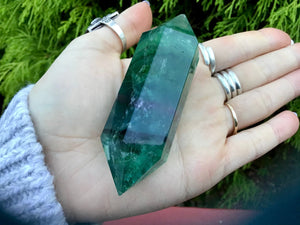 "Rainbow Fluorite Double Terminated Large 3.8 oz. Wand ~ 3 1/2"" Long ~ Green, Blue & Purple ~ Beautiful Reiki Altar Display ~ Free Shipping"
