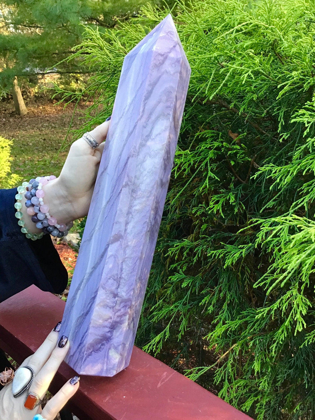 "Fluorite Generator Large 10 lb. Tower ~ 16"" Tall ~ Colorful Inclusions ~ Lavender & White Swirling Color ~ Huge Free Standing Crystal Point"