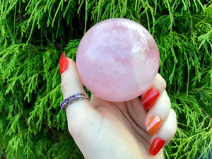 "Rose Quartz Crystal Ball Large 13.5 oz. Polished Sphere ~ 2"" Wide ~ Beautiful Sparkling Pink ~ Reiki Altar Display ~ Fast & Free Shipping"