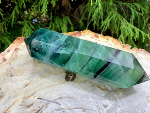 "Fluorite Clear Double Terminated Generator Big 4.5 oz. Wand ~ 4"" Long ~ Sparkling Green, Purple, Blue Rainbow Colors ~ Reiki ~ Fast Shipping"