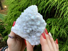 "Load image into Gallery viewer, Angel Aura Quartz Crystal Large 11.4 oz. Cluster ~ 4"" Long ~ Electric Pearlescent White Rainbow Iridescent Sparkling Points ~ Reiki Altar"