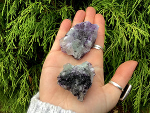 Purple Fluorite Crystals Pair of Pocket or Altar 2 Gorgeous Crystals ~ 4.1 oz. Total Weight Perfect for Meditation, Third Eye, Gifting Décor