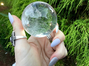 "Clear Quartz Large 8.8 oz. Crystal Ball ~ 2"" Wide Sphere ~ Rainbow Inclusions ~ Beautiful Reiki, Altar, Feng Shui Display ~ Fast Shipping"