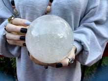 "Load image into Gallery viewer, Quartz Large 5 Lb. 5 oz. Crystal Ball ~ 5"" Wide Polished Sparkling Clear Sphere ~ Beautiful Reiki, Altar, Feng Shui, Meditation Room Display"