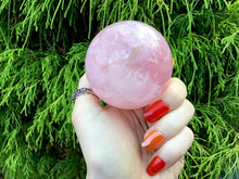 "Load image into Gallery viewer, Rose Quartz Crystal Ball Large 13.5 oz. Polished Sphere ~ 2"" Wide ~ Beautiful Sparkling Pink ~ Reiki Altar Display ~ Fast & Free Shipping"