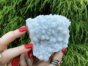 "Angel Aura Quartz Crystal Large 11.4 oz. Cluster ~ 4"" Long ~ Electric Pearlescent White Rainbow Iridescent Sparkling Points ~ Reiki Altar"