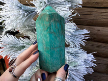 "Load image into Gallery viewer, Amazonite Generator Gemstone Crystal 1 Lb. 5 oz. Tower ~ 5 1/2"" Tall ~ Natural Polished Point ~ Beautiful Mineral Specimen ~ Fast Shipping"