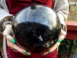 "Tourmaline Crystal Ball Large 31 Lb. Sphere ~ 8"" Wide ~ Rare Black & Green Colors ~ Golden Pyrite Inclusions ~ Reiki Display ~ Fast Shipping"