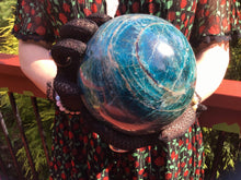 "Load image into Gallery viewer, Deep Blue Apatite Large 8 lb. 9 oz. Crystal Ball ~ 5"" Wide ~ Big Sparkly Polished Sphere ~ Beautiful Reiki, Altar Décor, Feng Shui Display"