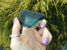 "Load image into Gallery viewer, Fluorite Crystal Big 3.6 oz. ~ Translucent ~ Amazing Deep Sea Blue Color ~ 2 1/2"" Long ~ Green Glowing Inclusions ~ Gem Quality Display"