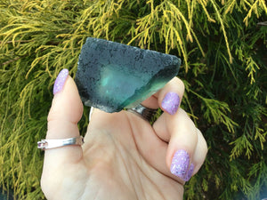 "Fluorite Crystal Big 3.6 oz. ~ Translucent ~ Amazing Deep Sea Blue Color ~ 2 1/2"" Long ~ Green Glowing Inclusions ~ Gem Quality Display"